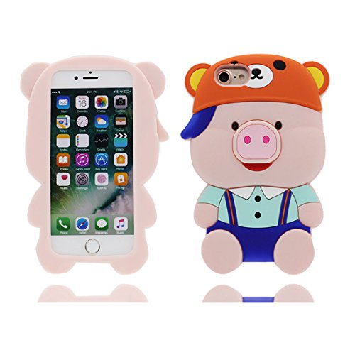 Apple iPhone 7 Plus Copertura Cover, Gel Shell TPU per le ragazze iPhone 7 Plus Custodia Case 5.5 [ Lovely 3D Cartoon maiale pollo Hat Smile ] Shock Anti-Shock Graffi # 9