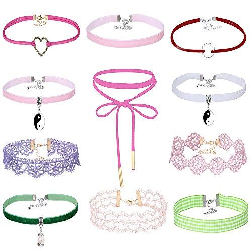 MingJun Pack von 11 Multicolor Samt Choker Halskette Set Vintage Spitze verstellbaren Choker Kragen mit Anhänger für Frauen Mädchen 90's -