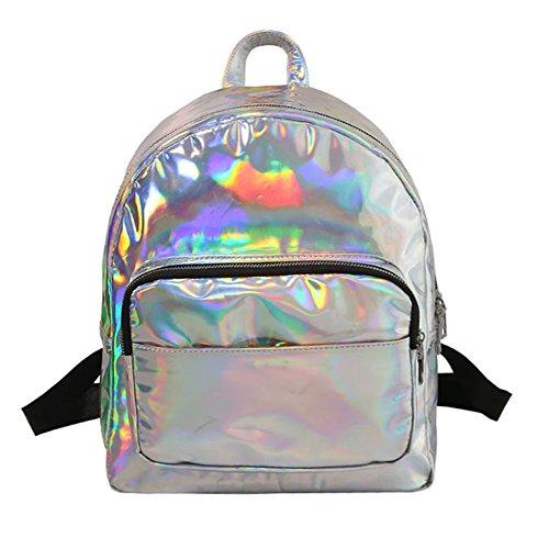 r Kunstlederrucksack Schultasche Rucksack Backpack Für Reisen Photography (Silber-L) ()