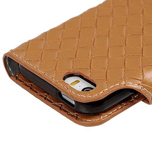 Mavis's Diary Étui iPhone 5/iPhone 5S/iPhone SE Coque en Cuir Bleu Housse Portefeuille Fente de Carte Étui à Rabat Flip Phone Case Cover+Stylet+Bouchon Anti-poussière+Chiffon jaune