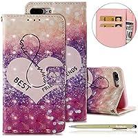 Handyhüllen für iPhone 8 Plus/iPhone 7 Plus Handytasche Glitzer 3D Luxus Glänzend Bling Kirstall Brieftasche Lederhülle Flip Cover Bunt Muster Leder Tasche Bookstyle Klapphülle,Herz