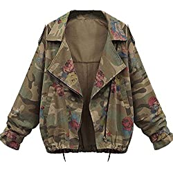 Minetom Mujer Otoño Invierno Coats Camuflaje Jackets Abrigos Militar Jeans Chaquetas Denim Ropa De Calle Tops Verde ES 40