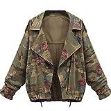 Minetom Mujer Otoño Invierno Coats Camuflaje Jackets Abrigos Militar Jeans Chaquetas Denim Ropa De Calle Tops Verde ES 44