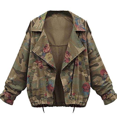 Minetom Donne Autunno Inverno Giacche Camouflage Giacche Militare Giacca Di Jeans Moda Denim Cappotti Coats Verde IT 44