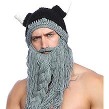 Tacobear Hiver Bonnet Barbe Homme Bonnet de Viking Drole Amusant Beanie  Hiver Chaud Beanie Knit Chapeau f0446b109f4