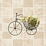 KSUNGB Puesto de flores Colgar en la pared Creativo Interior Bicicleta Retro europeo Sala Cuarto Balcón Hotel Bar Cafetería Estambres Plantas verdes Suspensión Vaso Baldosas de cerámica Lron Art 43 * 32cm , Black
