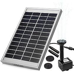 LEDGLE Fuente de agua con Panel solar 5W, con Bomba de agua, para el jardín, el patio, estanque, etc. Flujo máximo 380L/h