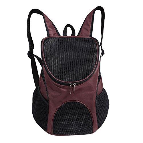 HEEPDD Sac de Transport de Chien, en Plein air Pet Carrier Backpack ventilé Mesh Double épaule Sac de Voyage pour Chat Petits Chiens Chiot Voyager Randonnée Camping (café)