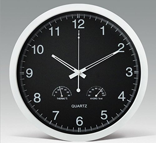 ldyy Wall Clock Orologio da Parete Stazione Meteo, Black