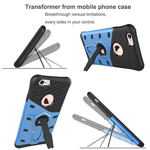 MOONCASE iPhone 7 Coque, Hybride Etui Robuste Protection de Dual Layer Case Antidérapant en TPU Gel Absorption de Chocs Housse avec Béquille pour iPhone 7 Or Rouge