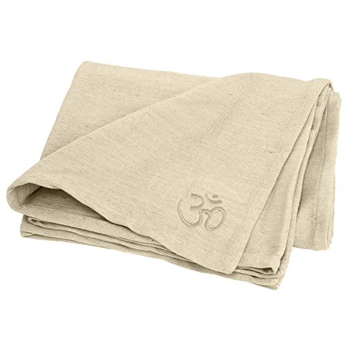 Couverture SHAVASANA pour le yoga 150 x 200 cm, 100 % coton robuste, lavable en machine à 30 °C, disponible en différentes couleurs (écru)