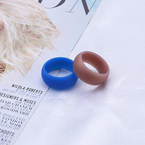 VORCOOL 7st Silikon Ringe Gummi Hochzeit Bands für Männer 21,5 mm (12 Camouflage, Golden, Silber, Schwarz, Grau, Weiß, Blau) (Männer Silber Und Schwarz Ehering)