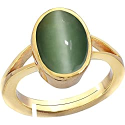 Gemorio cat's eye Lehsunia 8.3cts or 9.25ratti stone Panchdhatu Adjustable Ring For Women