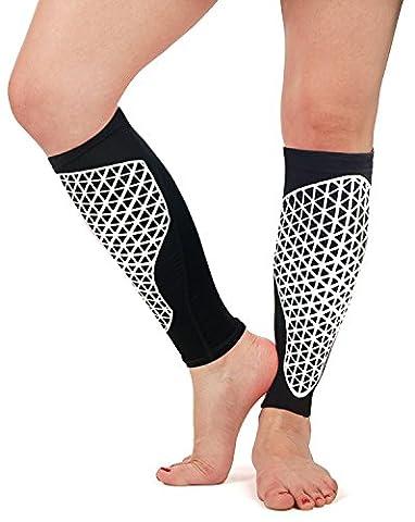 Kalb Kompressionshülsen - Kompressionsbein Socken (1 Paar) / Kalbwächter zum Laufen, Radfahren, Basketball, Fußball, Wandern - Premium Kompression Stützstrümpfe für Frauen und Männer (XL)