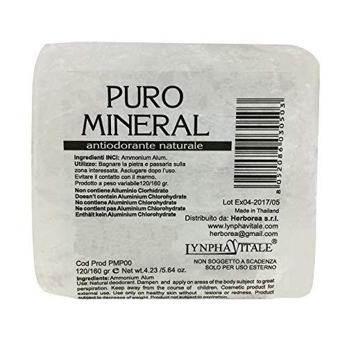 Deodorante naturale in allume di ammonio - pietra grezza antiodorante 120/160 gr - allume di potassio puro mineral - deo antiodore e traspirante - il sale della terra
