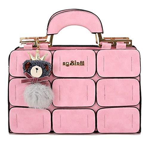 Frauen Handtasche Mode Mit Puppen 9 Gitter Spleißen Handtaschen Damen Top-Griff Tasche Reißverschluss Haspe Kupplung Neue Totes,Pink