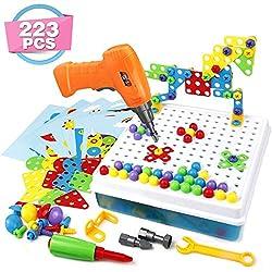 Tclothing BabySpielzeug 3D Puzzle Kinder Mosaik Steckspiel Bausteine mit Schraubendreher Schrauben Pädagogisches Spielzeug Geschenkset TouchSpiel