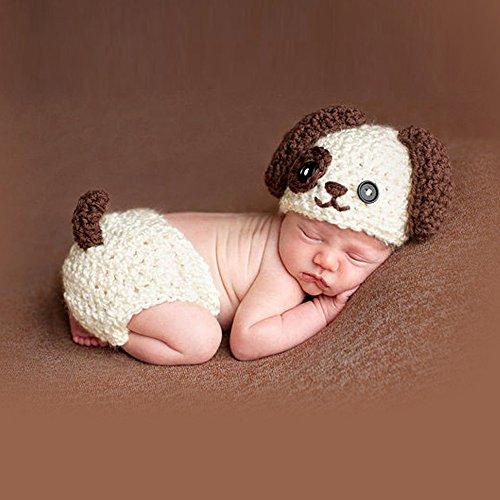 Sunfire Hundekostüm für Neugeborene, Mädchen/Jungen, gehäkelt/gestrickt, Requisit für Fotografie, Beige