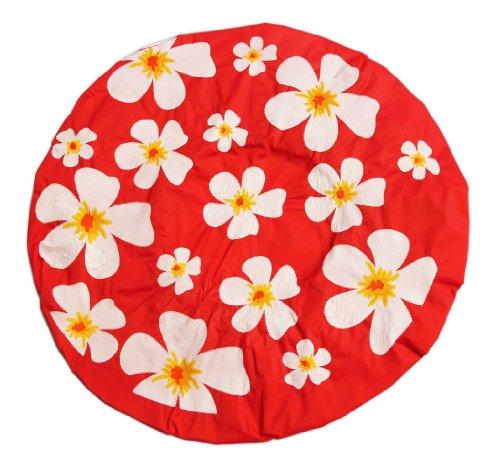 Colour rojo Gorra ducha flores forma de-diseño pelo