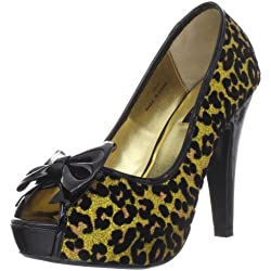 Pin Up Couture BETTIE-12 Gold Gltr (Cheetah Print) UK 4 (EU 37)