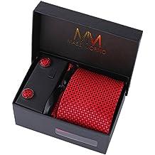 MASSI Morino Hombre Designer corbata – caja conjunto con pañuelo, gemelos y aguja de corbata, ropa y accesorios de hombre (Rojo cuadros)