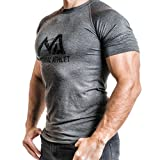 Natural Athlet Fitness T-Shirt Meliert - Herren Männer Kurzarm Shirt Optimal für Fitnessstudio, Gym & Training - Passform Slim-Fit, Rundhals & Tailliert - Sport & Freizeit, Anthrazit, Gr. M