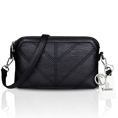 Sacchetto di busta di grande capacità della borsa multilayer di Yoome delle donne per le donne Sacchetto singolo della spalla Lady - Viola Nero