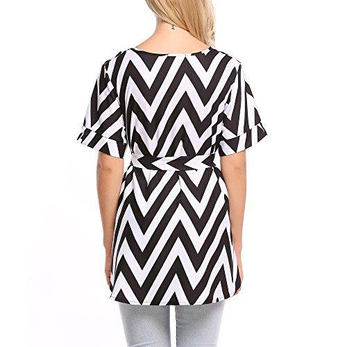 Keland Damen Bluse Chiffon Blumen Druck Top Casual Loose Fit Sommer T-Shirt mit Kurzarm Schwarz