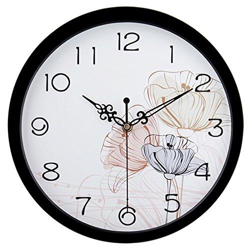 Hito moderno Colorful Floral Silencioso, sin tic tac pared Clock- 10pulgad