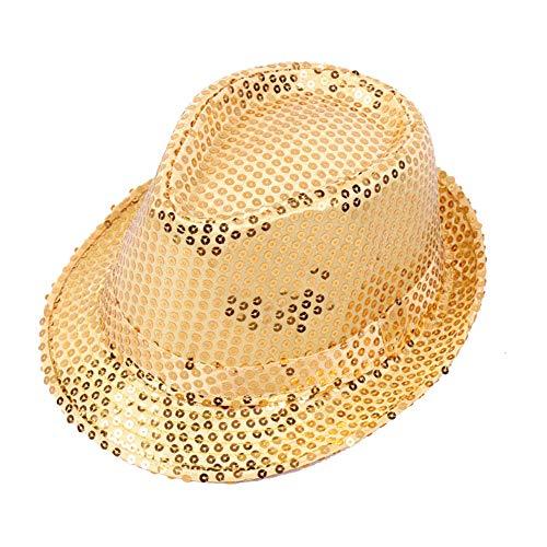 Demarkt Kinder Pailletten Jazz Hut Trilby Hut für Bühne Partys Gold