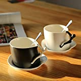 TSVB Taza de cerámica taza taza original par taza de café Copa emparejar con la cuchara taza plato ,6