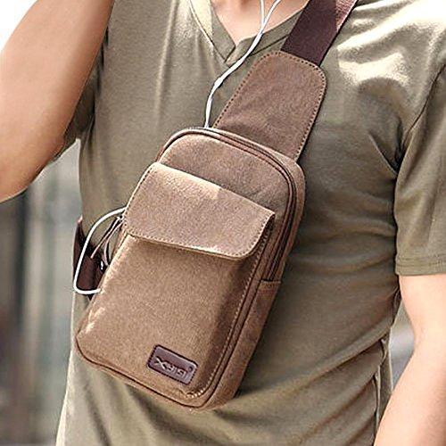 TININNA Uomo Vintage Multifunzione Sport Crossbody Bag in tela Borsa a tracolla Messenger Bag Borsa Borsetta a Spalla per Viaggio/Sport/Bicicletta/Trekking(Khaki) Profondo Grigio