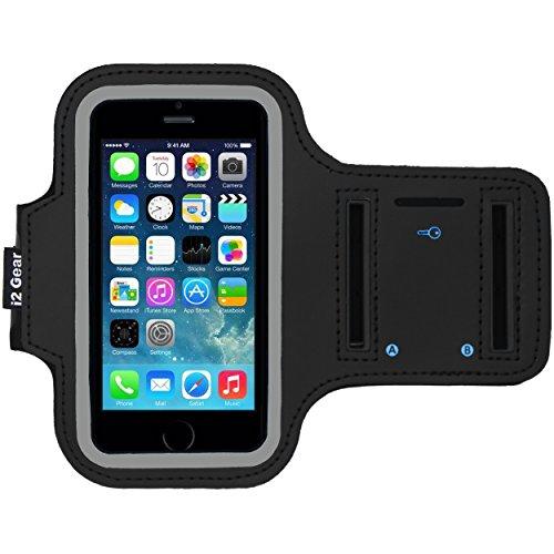 I2 Gear IPhone 5/5 s / 5C Se laufen & Übung Armband mit Schlüsselhalter & reflektierendes Band (iPhone 5/5S/5C SE, Tiefschwarz) Ear-bud-ohr-clips
