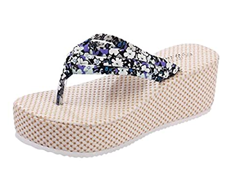Tomsent Femmes Bohemia Plage Floral Platform Chaussons Wedge Tongs Sandales Flip Flops Été Plage Chaussons Bleu EU 36