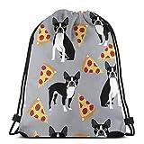 Übergroße Grau Boston Terrier Hund Pizza 3D Print Kordelzug Rucksack Umhängetaschen Sporttasche...