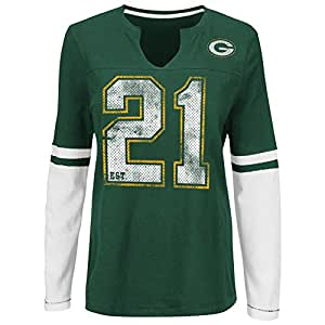 """Green Bay Packers Women's Majestic NFL """"Kickoff"""" L/S Notch Neck Shirt Camicia"""