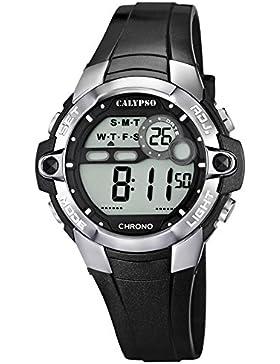 CALYPSO Damen Herren-Armbanduhr Sport Chronograph Quarz-Uhr PU schwarz D1UK5617/6
