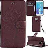 Ooboom® Samsung Galaxy S6 Edge Case Cat Tree Pattern PU Leather Flip Cover Wallet Stand with Card/Cash Slots Packet Wrist Strap Magnetic Clasp for Samsung Galaxy S6 Edge - Brown