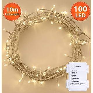 Weihnachtsbeleuchtung, Lichterkette 100 LED Warm weiß IInnen- und Außen 8 Modi mit Memory & Timer Funktion, batteriebetrieben - 10m / 33ft beleuchtete Länge Clear Kabel