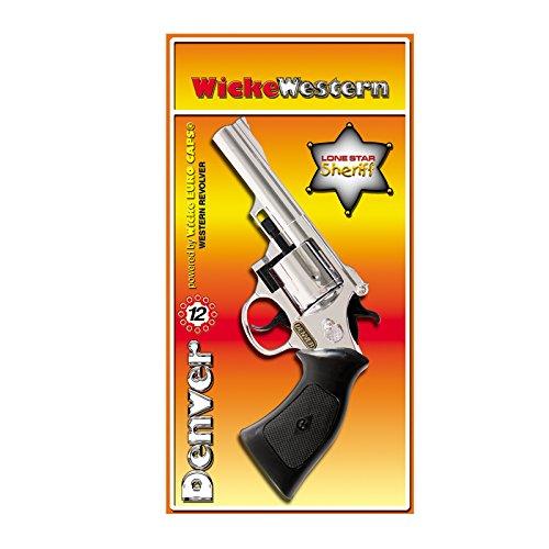 NEU Cowboy-Pistole Denver Chrom, 12-Schuss-Colt