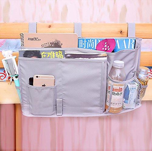 Winthome Oxford Bett Organizer Matratze Buch Magazin TV-Fernbedienung Caddy Organizer 6 Taschen Nachttisch Storage Bett Organizer zum Aufhängen Tasche (grey) (Bett-tasche)