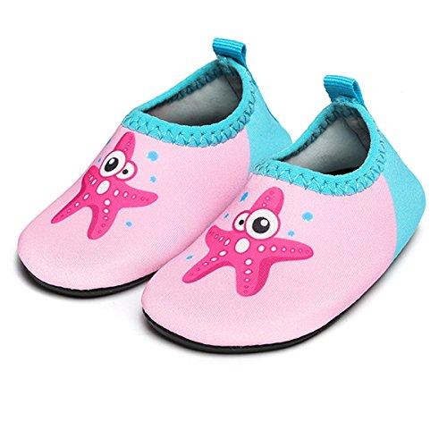 (JIASUQI Baby Quick-Dry Wassersport Aqua Schuhe Zum Schwimmen Gehen Yoga Lake Beach Garden Park Fahren, Rosa Seestern 0-6 Monate)
