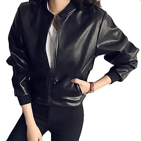 Fulok Womens Loose Faux Leather Zip Up Moto Biker Jacket