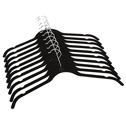 Coorun 50 Stücke Anti Rutsch Samt Bedeckte Kleiderbügel Damen mit Rutschfeste Oberfläche Einkerbungen Dünne Shirt Mantel Anzug Hose Kleidungaufhänger Schwarz