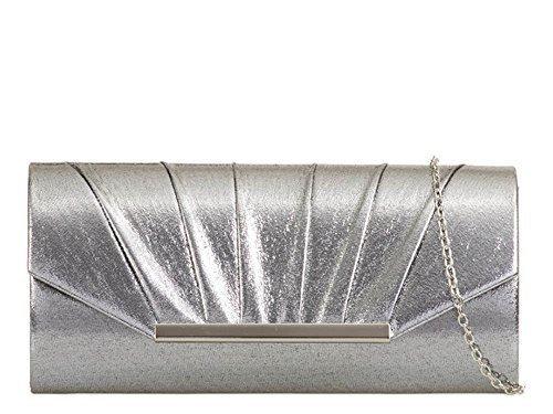 Haute für Diva's Damen glänzend plissiert Kunstleder Metall Trimm Kette Band Abend Party Clutch Tasche Portemonnaie - Rosa, Mittelgroß grau