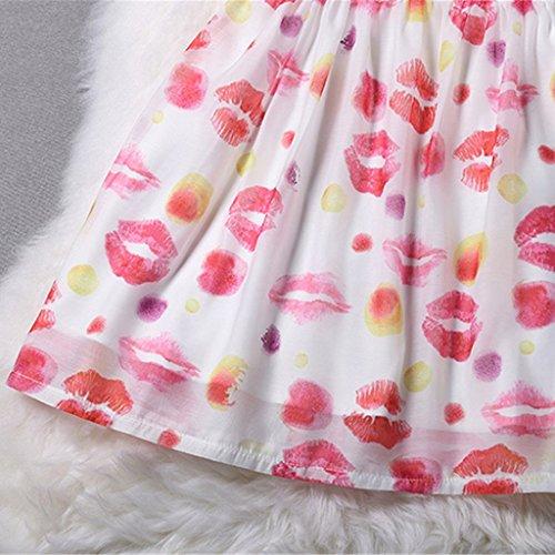 Jiayiqi Femmes Mode Complet Imprimer Robes Organza Robe A-Ligne Sans Manches Lèvre rouge