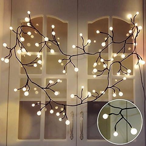 Lichterkette Kugeln Innen, YMing Weihnachten Lichterkette 2.5M 72 LED Kugeln in verschiedenen Größen, Weihnachtenbeleuchtung Dekoration für Weihnachten, Halloween, Schlafzimmer, Balkon, Garten, Hochzeiten - Warmweiß ( Niederspannung)
