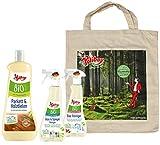 Poliboy Bio Parkett Pflege (1000ml), Bio Bad Reiniger (375 ml) und Bio Glasreiniger/Spiegelreiniger (375 ml) + Baumwolltasche