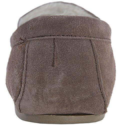 Lambland véritable peau de mouton Chaussons Mocassins en daim avec semelle en PVC Marron - Camel