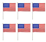 USA Stars and Stripes Quality Polyester Hand Flags - Pack of 6 American 4th July Independence Day Celebration Flags - Size 9in x 6in with 12inch Wood Stick